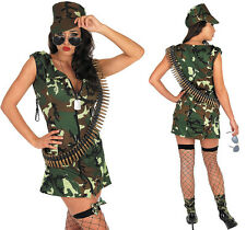 Womens Sexy Army Girl Ladies Uniform Soldier Fancy Dress Costume Outfit UK 8-30