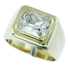 Mens Simulated Diamond Clear Stone Solitaire 18kt Gold EP Ring