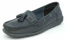 Womens Ladies Real Leather Boat Deck Flat Shoes Loafers Black Size 3 4 5 6 7 8