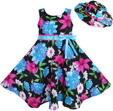 2 Pecs Girls Dress Hat Blue Flower Summer Beach Party Dancing Size 4-12
