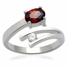 Silver Garnet Ruby Cocktail Ring Red Cubic Zirconia 1 carat Size 9 10 USA Seller