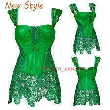 Green Women Boned Lace Up Overbust Corset G-string Bustier Bodyshaper Front Rope