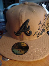 Atlanta Braves MLB 59Fifty All Over Logos Light Brown Fitted Flat Bill Hat Cap A