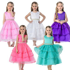Flower Girls Princess Party Gown Kid Summer Bridesmaid Wedding Cake Dress 2-13Y