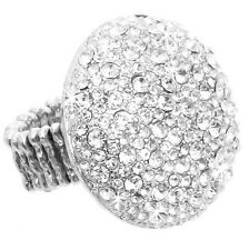 *HUGE BLING* SILVER GOLD TOPAZ Pave Crystal DOME Statement Cocktail Cz Ring