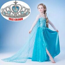 Girls Disney Elsa Frozen dress costume Princess Anna party dresses Cosplay CA