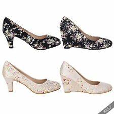 Womens Shiny Satin Diamante Retro Floral Kitten Mid High Heel Pumps Shoes Party