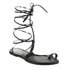 Beston EA87 Women's Under Knee High Leg Wrap Roman Gladiator Lace Up Flat Sandal