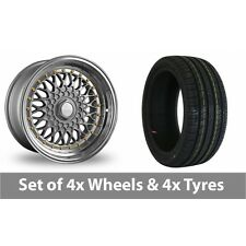 """4 x 17"""" Dare DR-RS Silver Gold Rivets Alloy Wheel Rims and Tyres -  195/40/17"""