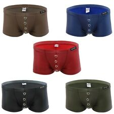 Faux Leather Mens Sexy Hole Trunk Boxer Briefs Shorts Bulge Pouch Underwear Swim