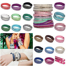 Multilayer Women's Wrap Rivet Rhinestone Suede Cuff Bangle Wristband Bracelet PS