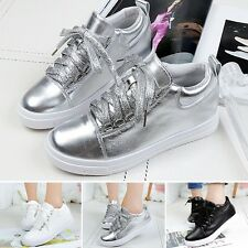Lady New Fashion Lace Up Trainers Sneakers Athletic Platform Shoes Walking Flats