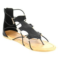 Top Moda CD11 Women's Strappy Gladiator Style Cut Out Flat Thong Sandals