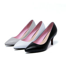 Women's Genuine Leather Pointed Shoes Stilettos Med Heels Pumps AU All Size S745