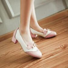 Hot New Womens Cute Kitten Heel Bow Sweet Pumps Color Stitching Mary Janes Shoes