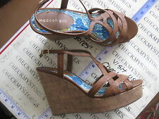 NIB Womens Madden Girl Ease Cognac Paris Tan Platform Wedges Sandals Shoes