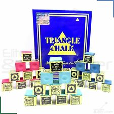 Triangle Snooker Pool Billiards Cue Tip Chalk Green, Blue or Red 12 - 144 Cubes