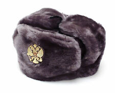 Authentic Russian Military Gray Ushanka Hat with Imperial Eagle Emblem