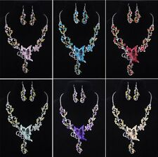 Fashion Ladys Butterfly costume Necklace Earring 1set acrylic alloy  W19758