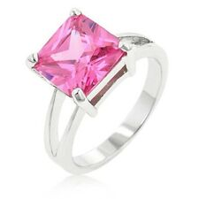 Silver Tourmaline Cocktail Ring Pink Cubic Zirconia Size 5 6 7 8 9 10 USA Seller