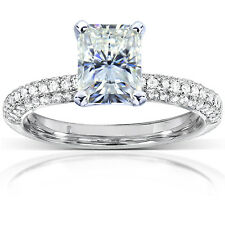 Radiant-cut Moissanite and Micro-Pave Diamond Engagement Ring 2 Carat (ctw) in 1
