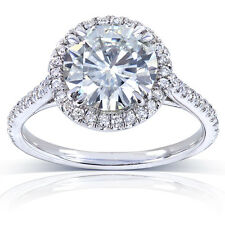 Round-cut Moissanite and Diamond Engagement Ring 2 Carat (ctw) in 14k White Gold