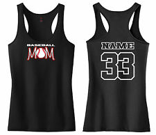 BASEBALL MOM RACERBACK TANK TOP SHIRT LITTLE LEAGUE PEE WEE SOFTBALL T-BALL