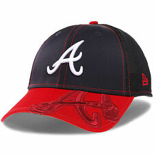 Atlanta Braves New Era Logo Crop Neo 39THIRTY Flex Hat - Navy/Red - MLB