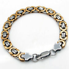 9MM Mens Silver/Gold Flat Byzantine Link Stainless Steel Chain Bracelet Jewelry