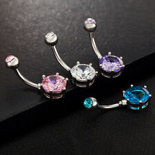 Crystal Gem Belly Ring Button Bar Body Piercing Surgical Steel Navel Ring