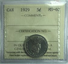 1929 Canadian Five Cent Coin ICCS Graded MS-62