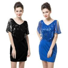 New Women V-Neck Short Sleeve Sequin Split Cocktail Party Mini Dress Anself F6T8