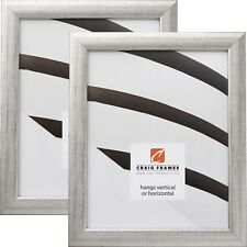 Craig Frames Contemporary, 1″ Scratched Silver Picture Frame, 2-Piece Set
