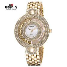 WEIQIN Fashion Women Ladies Crystal Gold Beads Bracelet Quartz Wrist Watch G4X1