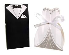 BRIDE AND GROOM POCKET TUXEDO WEDDING FAVOUR GIFT BOXES 1, 10, 20, 50 ,100 PACKS