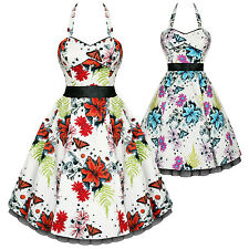 Hearts And Roses London White Floral Butterfly Vintage 50s Party Prom Dress UK