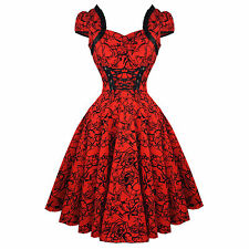 Hearts & Roses London Red Tattoo 1950s Rockabilly Vintage Party Prom Dress UK