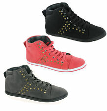 Womens Fashion Hi-Tops Studded Lace-Up Flat Casual Pumps Trainers Shoes UK 3-8