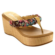 Beston EA94 Women's Comfy Thong Strap Platform High Wedge Slip On Casual Sandals