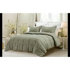 3PC REVERSIBLE SOLID EMBOSS STRIPED COMFORTER SET- OVERSIZED AND OVERFILLED SAGE