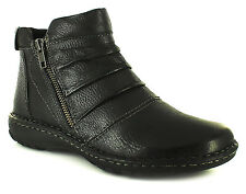 New Ladies/Womens Black Leather Earth Spirit Ankle Boots UK SIZES