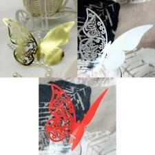 50 Butterfly Wine Glass Place Cards Laser Cut Pearlescent Card for Wedding Party