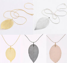 Vogue Unique Real Leaf Leaves Craft Pendant Sweater Long Chain Necklace Jewelry