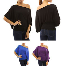 New Women Sexy One Off-shoulder Loose Bat Sleeve Casual T-Shirt Club Blouse Tops