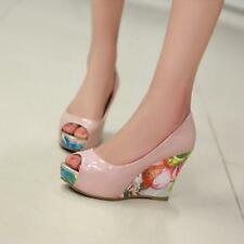 Top Elegant Floral Printing Pumps Peeptoe Womens Platform High Wedge Heels Shoes