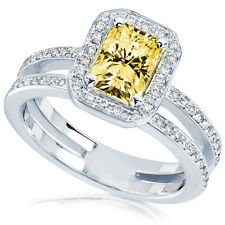 Yellow Radiant-cut  Moissanite and Diamond Engagement Ring 1 1/2 Carat (ctw) in