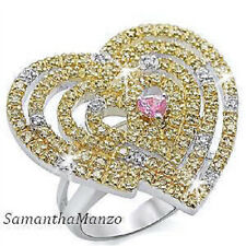 HUGE Canary Pink Micro Pave Set HEART Cz Cubic Zirconia Cocktail Statement Ring