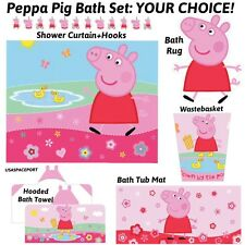 PEPPA PIG BATH SET Shower Curtain-Hooks+Rug-Tub Mat-Hooded Towel YOUR CHOICE Lot