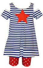 Bonnie Jean Girls Red White Blue Star Patriotic 4th of July Outfit 2T 3T 4T New