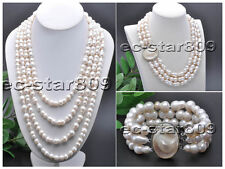 D0205 17mm White Double Gourd Freshwater Cultured Pearl Necklace Bracelet